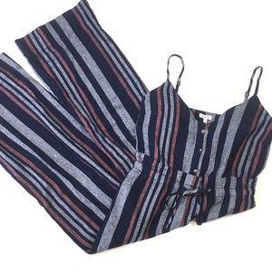 Splendid navy striped jumpsuit linen blend romper